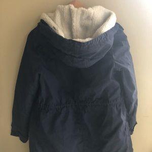 H&M long navy Sherpa parka detachable coat